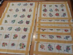 Lot 12 Xochi Trellis Floral Daffodil Placemats + Cloth Napkin Table Linens Y6