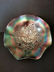 Vintage Carnival Glass Northwood Grape Leaves In Green Ruffles Bowl Signed