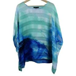 Style & Co Womens Pullover Top Sheer Blue Striped Waves Open Sleeve Size Large