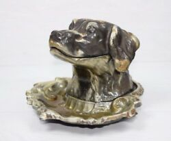 Vintage Collectible Metal Aluminum Inkwell Ink Pot Dog Novelty Figurine Statue