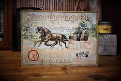 Staver Carriage Company Chicago Illinois New York Tin Embossed Sign Horse Gas