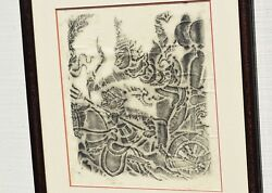 1960and039s Vintage Angkor Wat Temple Charcoal Rubbing On Rice Paper Framed