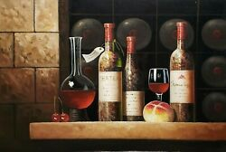 Wine Cellar Still Life - 3, 24x36 100 Hand Painted Oil Painting On Canvas