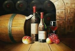 Wine Cellar Still Life - 6, 24x36 100 Hand Painted Oil Painting On Canvas