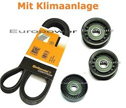 V-ribbed Belts Set + Tension Pulley Mercedes C Class W203 W204 200/220/270 Cdi