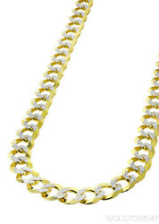 Cuban In 14kt Yellow Gold White Pave Enand039s Link Chain 6.5mm -7.5mm And 8.5mm