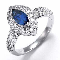 14k Solid White Gold Diamond And Sapphire Anniversary Ring 1.08ct. R1810