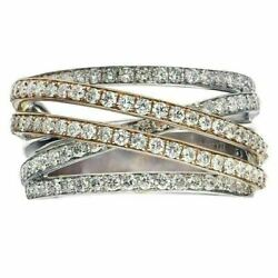 Estate Wide 1ct Diamond 18kt White And Rose Gold 3d Semi Eternity Criss Cross Ring
