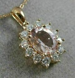 Estate 1.63ct Diamond And Aaa Morganite 14kt Rose Gold Oval Flower Classic Pendant