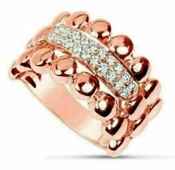 Estate Wide .25ct Diamond 18kt Rose Gold 3d Classic Double Row Beaded Fun Ring