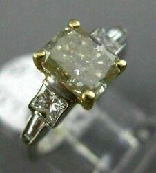 Large 2.08ct White And Fancy Yellow Diamond 18kt Two Tone Gold 3d Engagement Ring