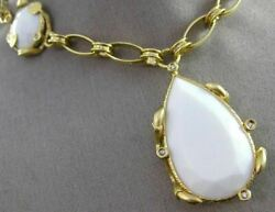 Extra Large .15ct Diamond And Aaa White Agate 14k Yellow Gold Lariat Drop Necklace