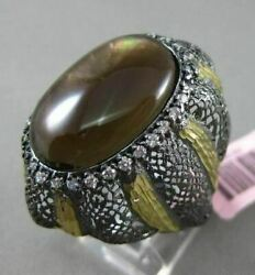 Antique Extra Large .90ct Diamond And Agate 14kt Black And Yellow Gold Filigree Ring