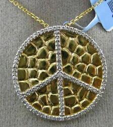 Estate .34ct Diamond 14kt Two Tone Gold 3d Circle Of Life Peace Floating Pendant