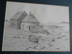 Framed Consuelo Eames Hanks Le 364/980 Signed Lithograph Landand039s End Maine 16x20
