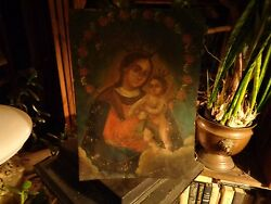 Mexican Retablo Madonna And Child Oil Painting On Metaltin-early 18th-19thc