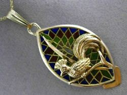 Antique Large Venetian Glass 14k Yellow Gold Rooster Bird Floating Pendant 2987