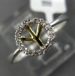 Estate .10ct Round Diamond 14kt White And Yellow Gold 3d Halo Peace Sign Fun Ring