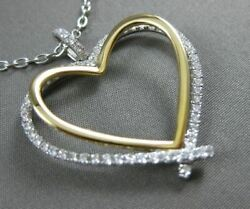 Large .75ct Diamond 18kt White And Yellow Gold 3d Open Double Heart Love Pendant