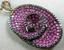 Large 3.72ct Black Diamond And Aaa Pink Sapphire 18kt Rose Gold Oval Swirl Pendant