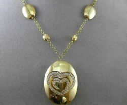 Estate Large .55ct Diamond 14k Yellow Gold Oval Handetched Double Heart Necklace