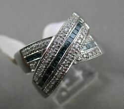 Estate Large 2.60ct Blue And White Diamond 14kt White Gold 3d Criss Cross Fun Ring