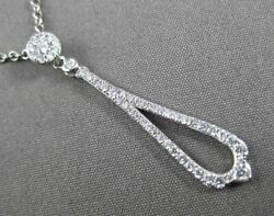 Antique .28ct Diamond 14kt White Gold Elongated Tear Drop Handcrafted Pendant