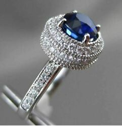 Antique 2.14ct Diamond And Aaa Sapphire 18k White Gold 3d Filigree Engagement Ring