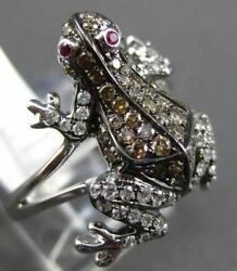 Estate .78ct Multi Color Fancy Diamond And Aaa Ruby 18k White Gold Happy Frog Ring