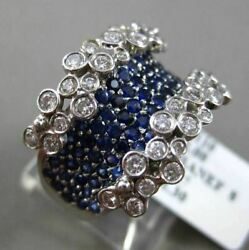Antique Massive 2.30ct Diamond And Aaa Sapphire 18kt White Gold Etoile Floral Ring