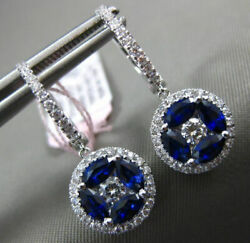 Large 1.94ct Diamond And Aaa Sapphire 18k White Gold Round Flower Hanging Earrings