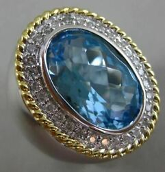 Estate 10.72ct Diamond And Aaa Blue Topaz 14k White And Yellow Gold 3d Oval Fun Ring