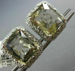 Large 16.70ct Diamond And Green Amethyst 14kt White Gold Double Halo Stud Earrings