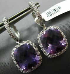 Estate Large 14.75ct Diamond And Amethyst 18kt White Gold Square Hanging Earrings