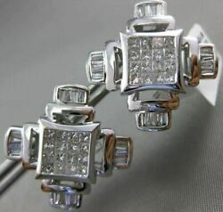 Estate Extra Large 3.01ct Diamond 14kt White Gold Cross Square Clip On Earrings