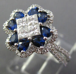 Estate Large 1.67ct Diamond And Aaa Sapphire 18kt White Gold 3d Flower Cross Ring