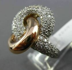 Estate Large 2.0ct Diamond 14kt White And Rose Gold 3d Love Knot Infinity Fun Ring