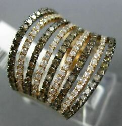Wide 1.44ct White And Chocolate Fancy Diamond 14k Rose And Black Gold Multi Row Ring