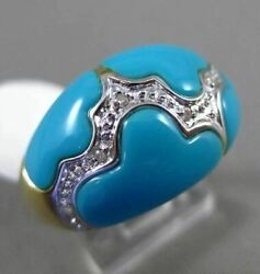 Estate .06ct Diamond And Aaa Turquoise 14kt White Gold 3d Cloud Design Fun Ring