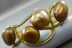 Antique Large .25ct Diamond And Aaa Brown Pearl 14kt Yellow Gold Bamboo Bracelet