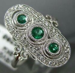 Antique .40ct Diamond And Aaa Emerald 18kt White Gold 3 Stone Oval Filigree Ring