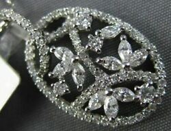 .76ct Round And Marquise Diamond 14kt White Gold Filigree Oval Leaf Flower Pendant