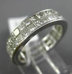 Estate Wide 3.23ct Diamond Princess Cut Invisible 14kt White Gold Eternity Ring