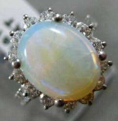 Antique Large 4.23ct Diamond And Aaa Opal 14kt White Gold Oval Cluster Ring 16119