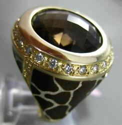 Antique Large 7.40ct Diamond And Smoky Topaz 14kt Yellow Gold Enamel Leopard Ring