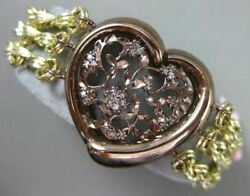Estate Extra Large .27ct Diamond 14kt Yellow And Brown Gold Flower Love Bracelet
