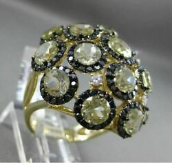 Estate Extra Large 10.01ct Black And White Diamond 14kt Yellow Gold 3d Etoile Ring