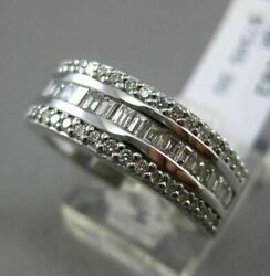 Estate Wide 1.36ct Round And Baguette Diamond 18kt White Gold Anniversary Ring