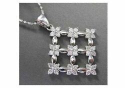 Antique Large .72ct Diamond 14kt White Gold Square Flower Pendant And Chain 724