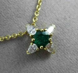 Antique .84ct Diamond And Aaa Emerald 18kt Yellow Gold 3d Star Flower Pendant